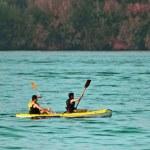 Landscape with kayak — Stock Photo