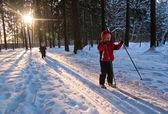 Children Cross Country Skiing — Zdjęcie stockowe