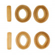 Hundred digit from russian crackers — Stock Photo