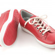 Stock Photo: Red leather sneakers