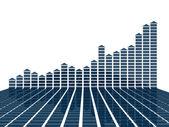 Blauwe 3d grafiek statistieken — Stockfoto