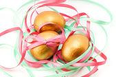 Easter golden eggs — Stock Photo