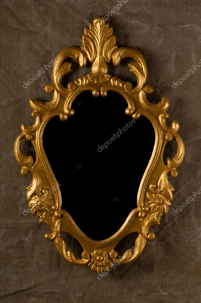 Gold vintage frame on fabric wall — Stock Photo #2771013