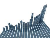 Estadísticas del gráfico 3d azul — Foto de Stock