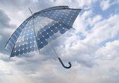 Solar photovoltaic umbrella — Stock Photo