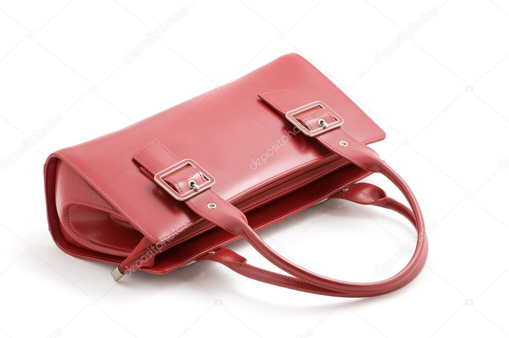 Red leather ladies handbag on white background — Stock Photo #2829796