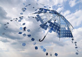 Solar photovoltaic umbrella — Stock Photo