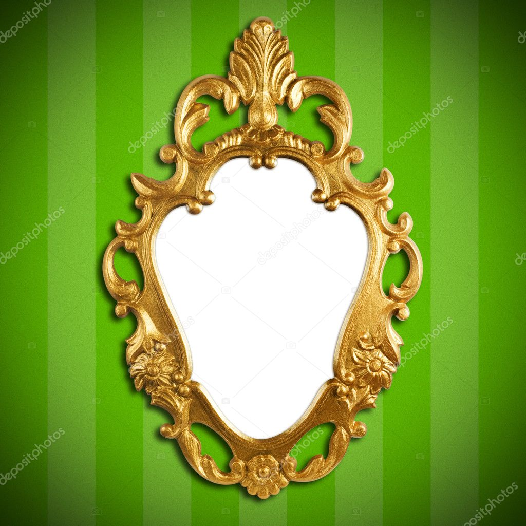 Gold vintage metal frame on wall  Stock Photo #3098264