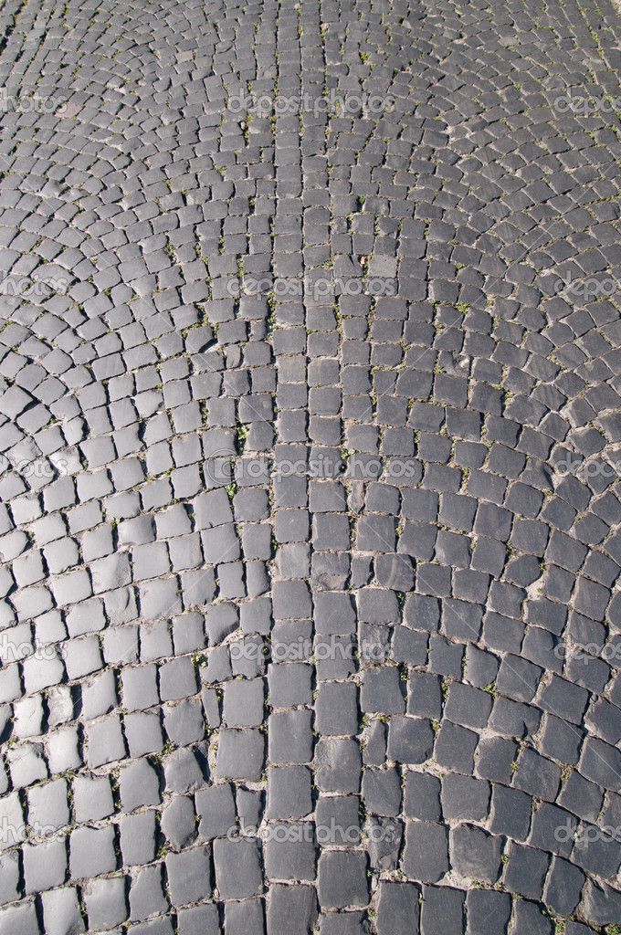 Fragment of the old street coated paving stone  Stock Photo #3449288