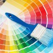 Color palette and brush — Stok fotoğraf