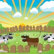 Small pasture - Stock Vector