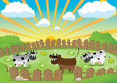 Small pasture — Stock Vector