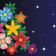Vector de stock : Background with flowers and stars