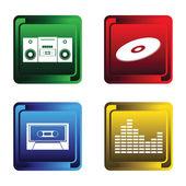 Dört müzikal düğmeleri — Stok Vektör