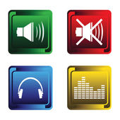 Four musical buttons — Stock Vector