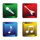 Four musical buttons — Vettoriale Stock