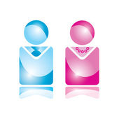 Vector Man & Woman -Glossy Icon — Stock Vector