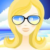 The girl on the beach — Stock Vector
