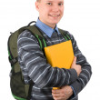 Young male student carries backpack — Stock Photo