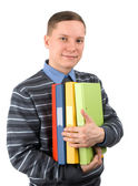 Uomo con un mucchio di cartelle — Foto Stock