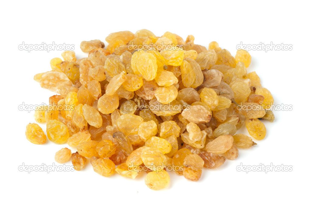 Yellow raisins isolated on white background   Stock Photo #3121511