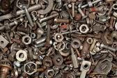 Zbliżenie stalowe śruby i nakrętki — Zdjęcie stockowe