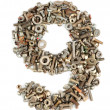 Royalty-Free Stock Photo: Numbers made of bolts - nine