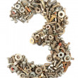 Numbers made of bolts - three — Stock Photo