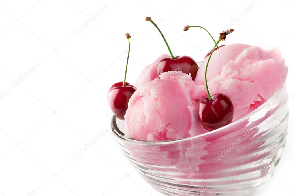 Fruit ice cream with cherry isolated on a white background  Stock Photo #3399491