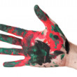 Hands painted with watercolors - Zdjęcie stockowe