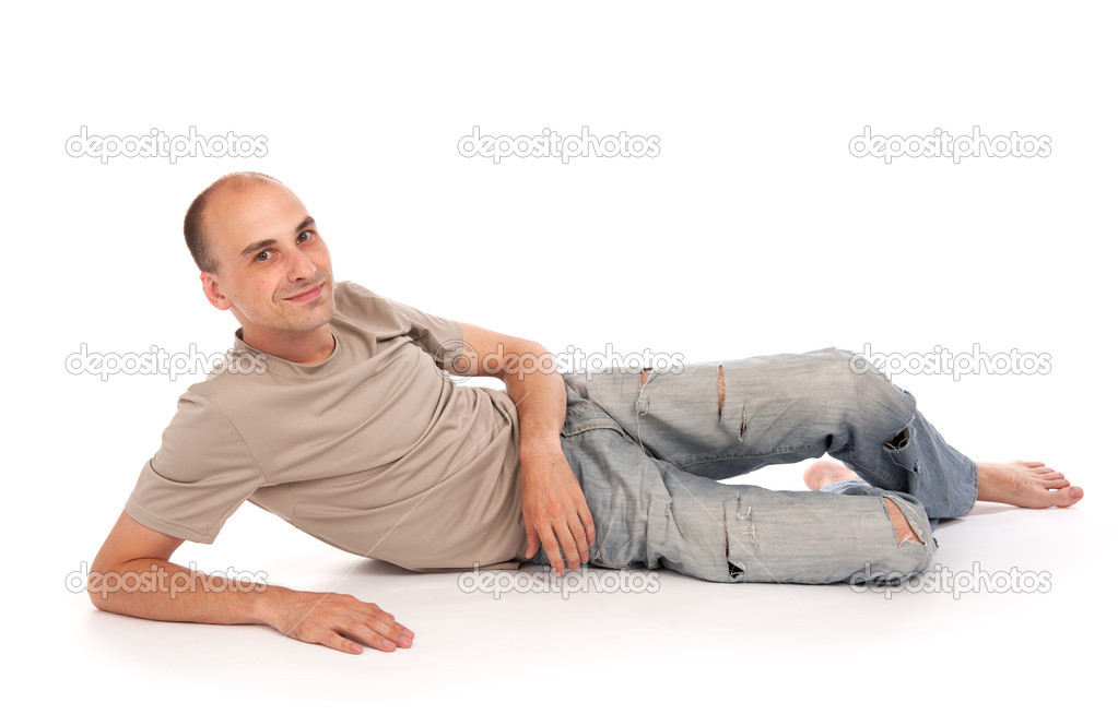 Man lying down on a floor stock photo spaxiax 3520650 for Down to the floor