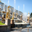 Foto Stock: Grand Cascade Fountains At Peterhof Palace