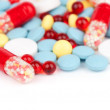 Colorful tablets and capsules - Stock Photo