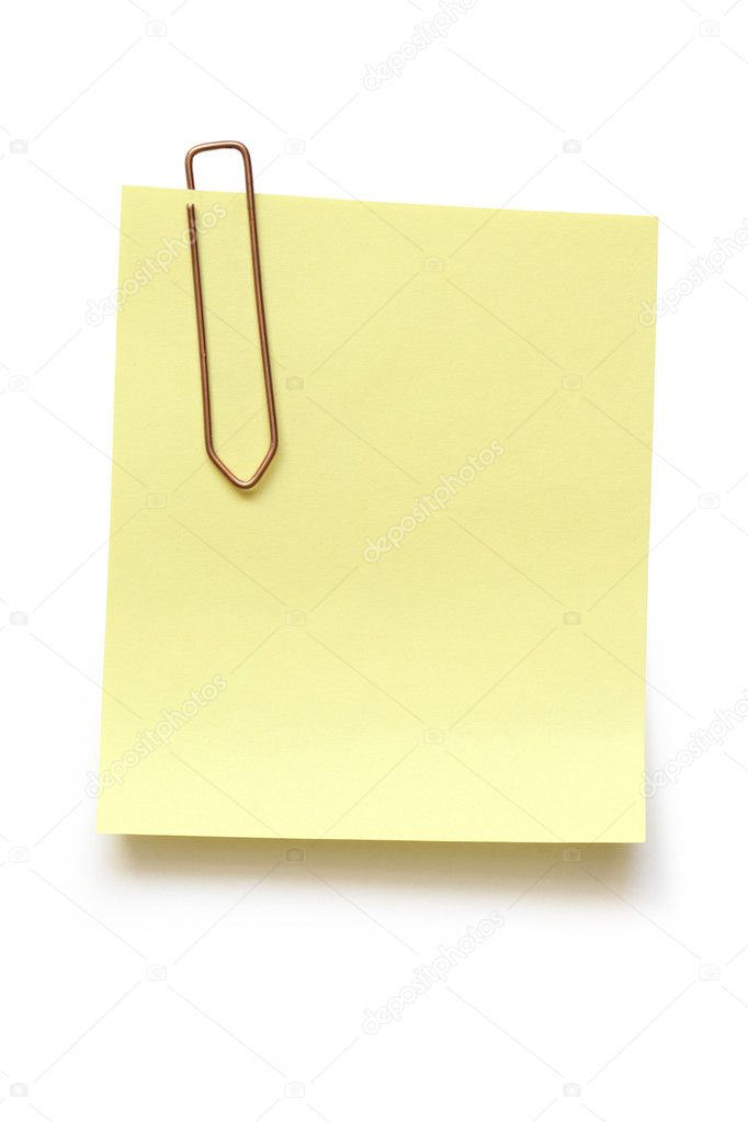 Blank yellow note with metal paper clip isolated on white background with clipping path — Stock Photo #2760280