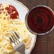 Stock Photo: Spaghetti And Wine