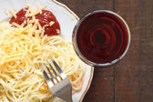 Spaghetti And Wine — Stock Photo
