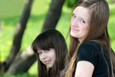 Two Teenage Girls Portrait — Стоковое фото