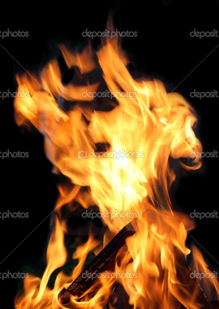 Closeup of fire flames isolated on black background  Stock Photo #3441511