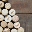 Wine Corks On Wood - Stock Photo