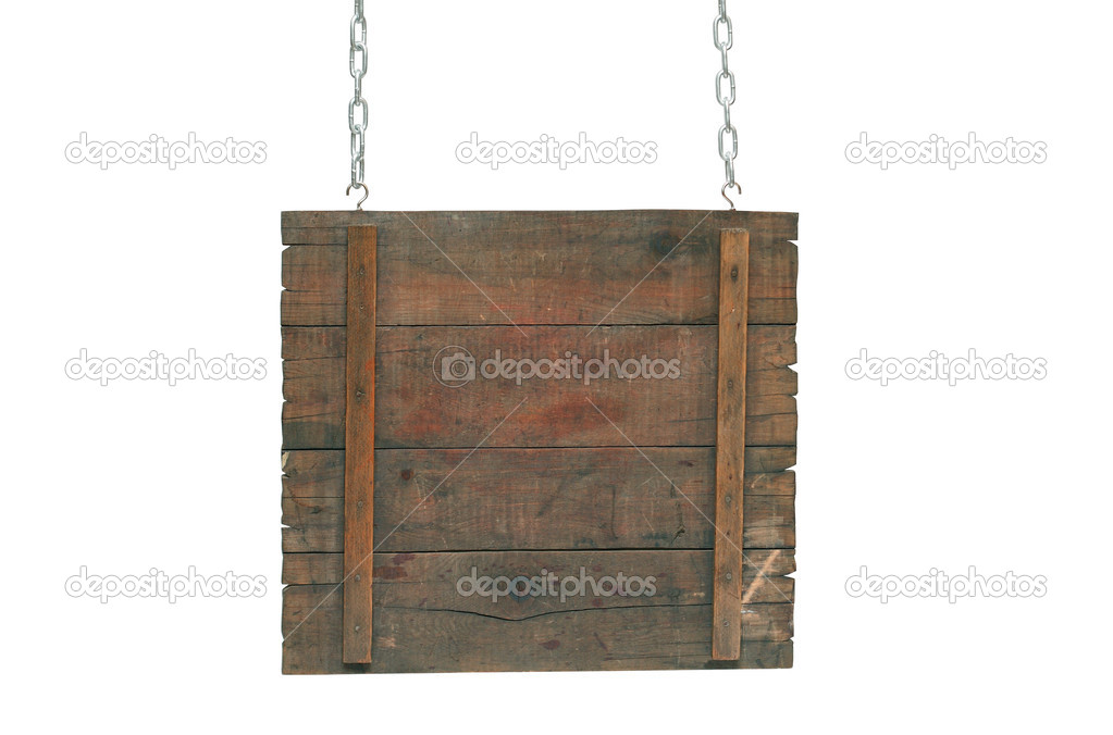 Empty wooden notice board hanging on a chains. Isolated on white background with clipping path — Stock Photo #3660776