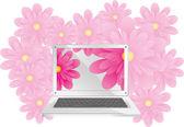 Laptop och ljusstyrka — Stockvektor