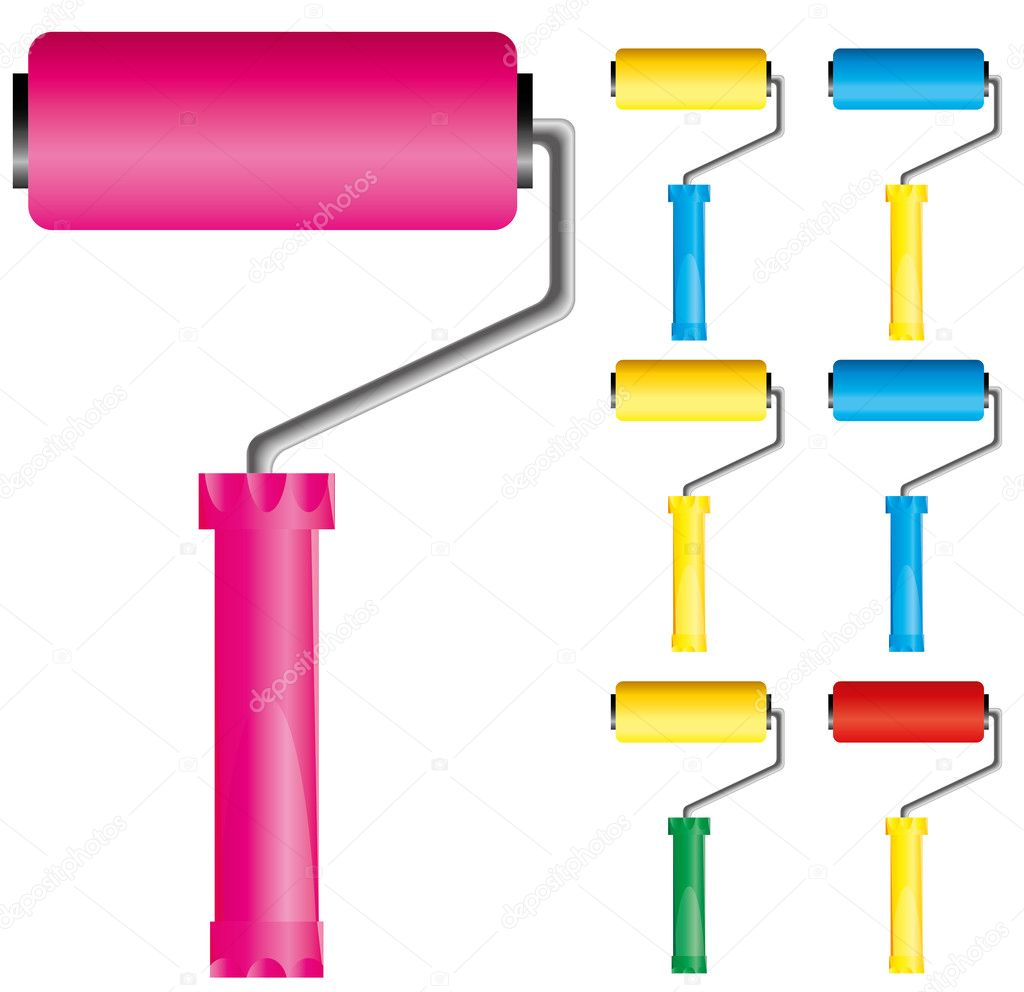 Set of paint roller brushes with variations of colors: pink, blue, yellow and red, part 1, vector illustration — Stock Vector #3710392