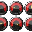 Stock Vector: Red speedometers