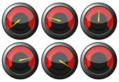 Red speedometers — Stock Vector