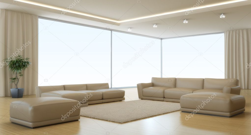 Modern interior of a drawing room (3d rendering) — Stock Photo #3865030