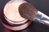 Face powder with brush — Stock Photo