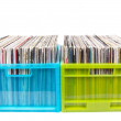 Old records in two plastic boxes — Stock Photo #3227596