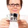 Businesswoman with cup of coffee — Stock Photo