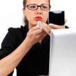 Businesswoman with red lipstick — Stock Photo
