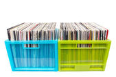 Old records in two plastic boxes — Stock Photo